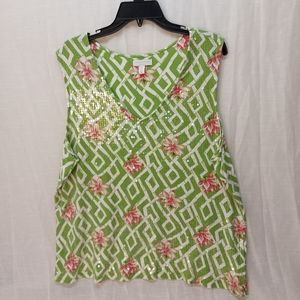 Charter club green sequence  tank top size 2X